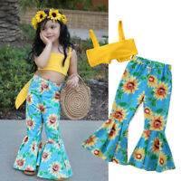 2Pcs Toddler Kids Baby Girls Clothes Crop Top +Ruffle Pants Summer Outfit Set
