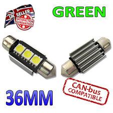 2X Verde Canbus LED 36mm Festoon Brillante Interior Placa Luces C5W 3 SMD