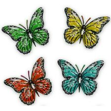 Set x 4 Decorative Garden Butterfly Fence Hangers Shed Wall Outdoor Ornaments