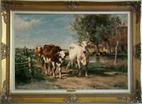 "Old Master-Art Antique Oil Painting animal Portrait cow on canvas 24""x36"""