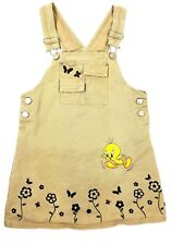 Looney tunes size 7 /8 bibbed overalls skirt with embroidered tweety