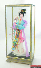 "Vintage Nylon Japanese Geisha Girl Doll Kimono Dress 13"" Tall Glass Display Case"