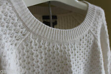 NWT Saffron Designer 100% Cashmere Knit Cream Winter White Sweater L $249