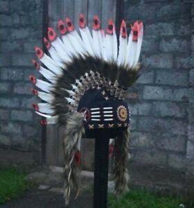 Red White Mohawk Headband Warbonnet Handmade Indian Feather Costume Headdress