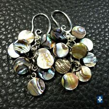 ♥ Pretty Natural Abalone Shell Plated Silver Cluster Earrings