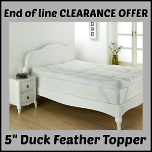 """LUXURY DUCK FEATHER 'Healthy Living' ANTI-ALLERGY Elasticated 5"""" Mattress Topper"""