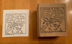 Vintage Flying Fish Rubber Stamp Woman Man POP Art Comic Diet Humor Wood Mounted