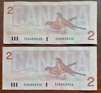2 Sequential x 1986 $2 Bank of Canada Notes - Prefix EGH - Circulated