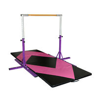 Purple Gymnast Training Bar Indoor Sports Equipment Adjustable With Gym Mat