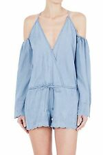 SASS & BIDE Blue Denim Laugh Loud Embroidered Playsuit Romper Size 4 NEW $280