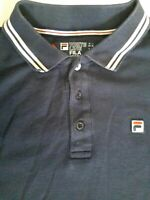 Fila polo shirt Top Size XL White Line Extra Large Navy Blue long sleeve