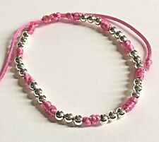 Stacker Bracelet : Pink knotted with silver coloured Beads