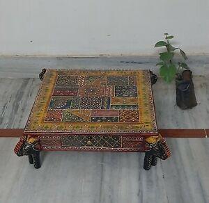 Wooden bajot elephant head painted chowki embossed painting stool drawer table