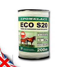 200m WHITE TAPE ECO-S20 - Width: 20mm - Robustness: 90 kg - ELECTRIC FENCE