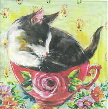 Lot de 2 Serviettes en papier Chat en Rose Decoupage Collage Decopatch