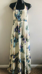 60s Vtg YOUNG HAWAII LIBERTY HOUSE Floral Smocked Halter Maxi Dress! M-L
