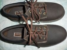 !New! SKECHERS USA 45681 Dark Brown LEATHER Hiking Low OXFORD Lace-Up 7M