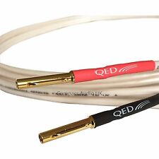 1m QED ORIGINAL OFC Speaker Cable AIRLOC 4mm Banana Plugs Heatshrink Terminated
