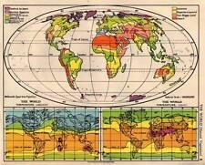 World Natural Vegetation & Temperature 1938 Original Antique Map