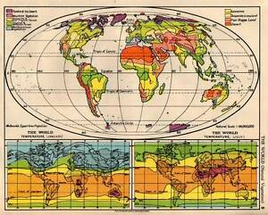 World Natural Vegetation & Temperature 1938 Original Antique Map