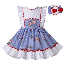 Blue Striped Flower Girl Summer Spanish Dress Sleeveless Communion Party Pageant
