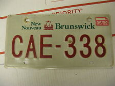 1992 92 New Brunswick NB Canada License Plate CAE338 Natural Sticker
