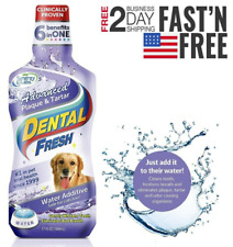Dental WATER ADDITIVE Oral Care Fresh Breath Eliminate Plaque For Dogs Cats 17oz