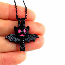 "H505 Black Stainless Alloy Locket Necklace 18""  -Halloween Flying bat Beads Cage"