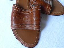 COLE HAAN Slides SANDALS Ladies size 8 B Caramel Leather Slip On Heels Shoes