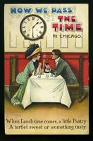 """How We Pass The Time at Chicago"""" Pastry & Tart Vintage Postcard Circa 1907"""