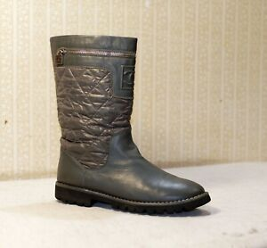 1800$ CHANEL grey quilted mid calf chunky engineer combat boots 42 = 41 us10 uk8