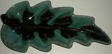 "BLUE MOUNTAIN POTTERY BMP PLATE DISH PLANT LEAF DESIGN VINTAGE LARGE 14"" X 6.5"""