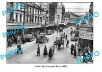 OLD LARGE PHOTO HOBART TASMANIA VIEW OF LIVERPOOL STREET c1930