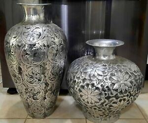 2 - Pier 1 style Aluminum Scroll Vases