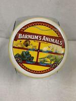 Barnum's Animal Crackers Glass Countertop Display Cookie Jar Yellow Lid Nabisco