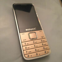 BRAND NEW SONICA BB4 DUAL SIM UNLOCKED BIG BUTTON SLIM MOBILE GOLD