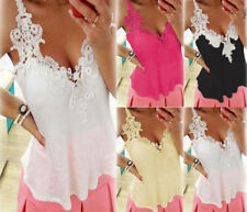AU 6-22 Women V Neck Lace Strap Sleeveless Tank Top Summer Casual Cami Shirt Tee