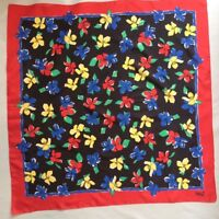 Vintage Scarf SARAH COVENTRY Italy Primary Red Blue Yellow Green Floral