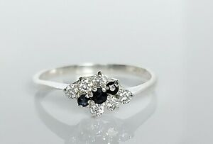 Beautiful Sterling Silver Sapphire & Simulated Diamond Crossover Ring UK Size N