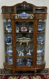 Fantastic Antique American Golden Oak China Cabinet Curved Glass Carved  c1910