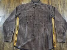 WRANGLER Embroidered Back L/S Western Style Buttonfront Shirt Size XL
