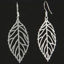 Fashion Women 925 Sterling Silver Hollow Leaf Urban Dangle Drop Hook Earrings