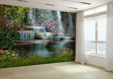Magical landscape with waterfalls Wallpaper Mural Photo 13896181 budget paper