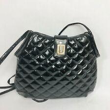 Judith Leiber Black Patent gold Evening Bag rope shoulder strap clutch purse