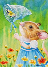ACEO Limited Edition Print Mouse Wildflowers Posies Butterfly Net by J. Weiner