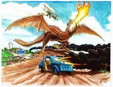 THE DRAGON COMES TO OHIO - Science Fiction original art by Mahlon Fawcett