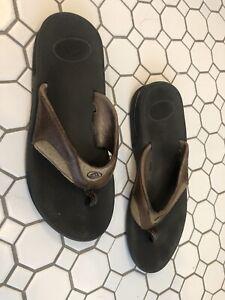 Reef Fanning Bottle Opener Flip Flops Thongs Sandals Brown Leather Men's Size 10