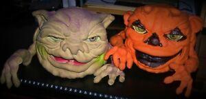 Vintage Mattel 1988 Halloween Blobkin & 1987 Drool Monster Boglins Hand Puppets