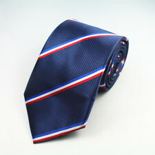 Blue White Red Tie Stripe Patterned Handmade 100% Silk Club Necktie