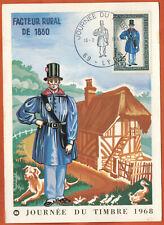 1968-Carte Maximum-Journée Du timbre-Facteur Rural-OB.Lyon.69-Timbre.Yt.1549